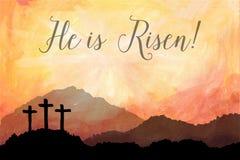 Сцена пасхи с крестом Иллюстрация вектора акварели Иисуса Христоса Стоковые Фото