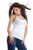 性感女孩头发长的纵向 库存照片