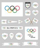被设置的奥林匹克旗子 库存图片
