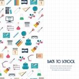 πίσω σχολείο έννοιας Πίσω στο σχολικό έμβλημα, υπόβαθρο, αφίσα, έννοια με τα άνευ ραφής σύνορα Επίπεδο σχέδιο διάνυσμα Στοκ Εικόνες