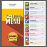 快餐菜单 套食物和饮料象 平的样式设计 图库摄影