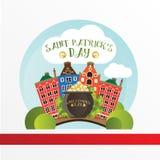 卡片为圣帕特里克天 有站立在桥梁的金黄硬币的罐在都伯林 动画片滑稽的样式 图库摄影