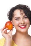 Γυναίκα με το κόκκινο πορτοκάλι Στοκ εικόνα με δικαίωμα ελεύθερης χρήσης