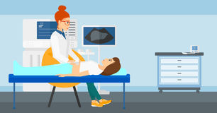 在超声波考试下的患者 库存照片