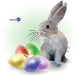 与五个装饰鸡蛋彩色组的兔子  您的复活节快乐 低多图表,传染媒介 库存照片