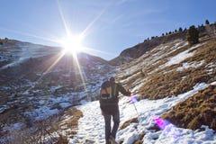 雪的远足者 库存照片