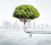 与树和水龙头的绿色能量概念在城市背景 库存图片