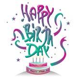与蛋糕设计的愉快的诞生天印刷术商标标志 库存图片