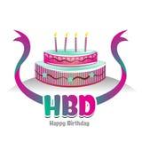 与蛋糕设计的愉快的诞生天商标标志 免版税库存图片
