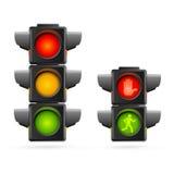 红绿灯设置了现实 向量 免版税库存图片