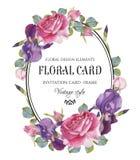 与水彩玫瑰和虹膜框架的葡萄酒花卉贺卡  库存照片