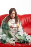 病的妇女年轻人 免版税图库摄影