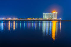夜视图在金边,柬埔寨 库存图片