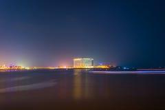 夜视图在金边,柬埔寨 图库摄影