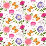 春天五颜六色的花和蝴蝶无缝的样式 免版税库存照片