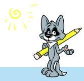 Иллюстрация шаржа карандаша художника характера волка Стоковые Фотографии RF
