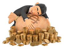 τρισδιάστατος πλούσιος άνθρωπος σμόκιν που αγκαλιάζει τα χρήματά του Στοκ Εικόνες