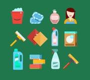 清洁工具传染媒介集合 清洗的家或旅馆的洗涤剂 库存照片