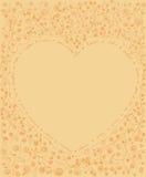 手拉的线艺术与植物群和藤框架的心脏形状 库存图片