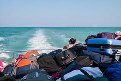 堆在渡轮的行李 库存图片