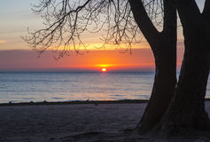 在普拉特海滩,芝加哥的日出 图库摄影