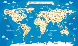 世界的地图与动物的 与海洋和大陆的题字的美好的五颜六色的传染媒介例证 库存图片