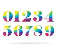 多角形集合彩虹编号汇集 免版税库存图片