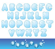水色字体 免版税库存照片