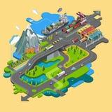 Плоский ландшафт карты вектора; парки; здания; зона отдыха; Стоковое Изображение RF