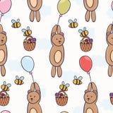在气球无缝的样式的逗人喜爱的熊飞行 免版税库存图片
