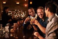 享受夜的男性朋友在鸡尾酒酒吧 免版税库存照片