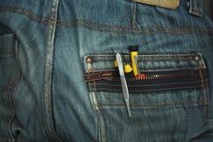 在口袋的工具 免版税库存照片