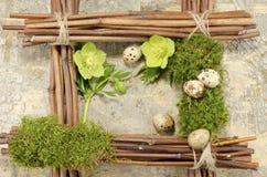 复活节框架有葡萄酒背景和五煮沸了鹌鹑蛋加上两朵黑黎芦花 库存图片