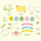 套复活节设计元素鸡蛋,丝带,框架,花卉传染媒介例证 库存照片