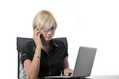 工作在膝上型计算机的办公室的新女商人 免版税库存照片