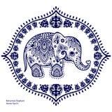 Винтажный индийский слон с племенными орнаментами Приветствие мандалы Стоковое Изображение RF
