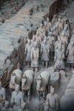 赤土陶器战士和马 免版税库存图片