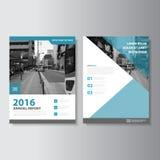 蓝色传染媒介杂志年终报告传单小册子飞行物模板设计,书套布局设计 免版税图库摄影