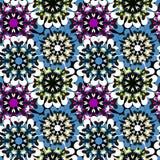 无缝的样式在东方与坛场元素回教阿拉伯亚洲主题的样式五颜六色的装饰背景中 图库摄影