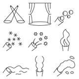 Γραμμικό σύνολο εικονιδίων σχετικό με τα σκηνικά ειδικό εφέ Στοκ φωτογραφία με δικαίωμα ελεύθερης χρήσης