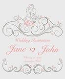 婚姻的邀请卡片与华丽漩涡图表装饰 免版税库存图片