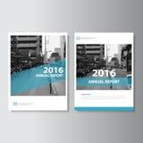 蓝色传染媒介年终报告杂志传单小册子飞行物模板设计,书套布局设计 图库摄影