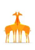 明亮的多角形长颈鹿剪影 库存图片