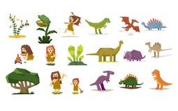 Δεινόσαυροι και προϊστορικές εγκαταστάσεις, άνθρωποι, επίπεδο διανυσματικό σύνολο απεικόνισης Στοκ εικόνα με δικαίωμα ελεύθερης χρήσης