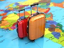 旅行或旅游业概念 在世界地图的行李 免版税库存照片