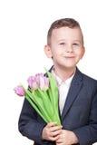 Αγόρι με τα λουλούδια Στοκ φωτογραφίες με δικαίωμα ελεύθερης χρήσης
