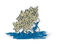 Сторона женщины в утесах с морем развевает нарисованный вручную эскиз Стоковые Изображения