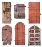 Σύνολο κλειστών παλαιών πορτών που απομονώνονται στο λευκό Στοκ εικόνα με δικαίωμα ελεύθερης χρήσης