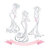 Γραμμικές σκιαγραφίες ύφους των όμορφων κοριτσιών στα φορέματα βραδιού Στοκ Εικόνες