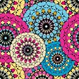 无缝的样式在东方与坛场元素回教阿拉伯亚洲主题的样式五颜六色的装饰背景中 免版税库存图片
